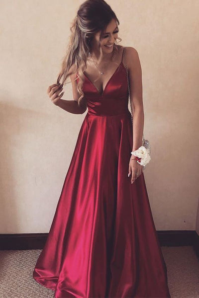 A Line V Neck Burgundy Satin Long Prom Dress, V Neck Burgundy Formal Graduation Evening Dress