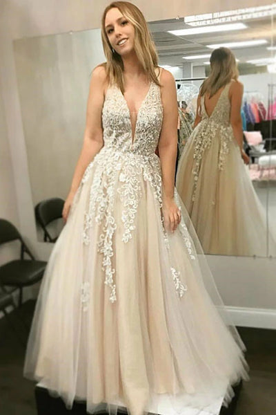 A Line V Neck Champagne Lace Long Prom Dress, Long Champagne Lace Formal Dress, Champagne Evening Dress
