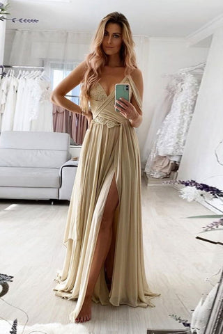A Line V Neck Champagne Lace Long Prom Dress with Slit, Long Champagne Lace Formal Graduation Evening Dress