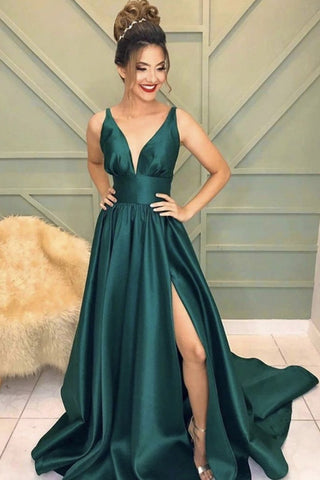 A Line V Neck Emerald Green Long Prom Dress with High Slit, Emerald Green Formal Graduation Evening Dress