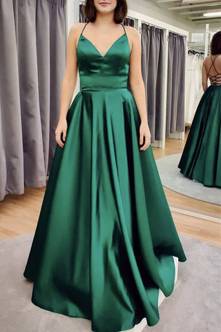 A Line V Neck Floor Length Backless Emerald Green Satin Long Prom Dress, Backless Emerald Green Formal Graduation Evening Dress