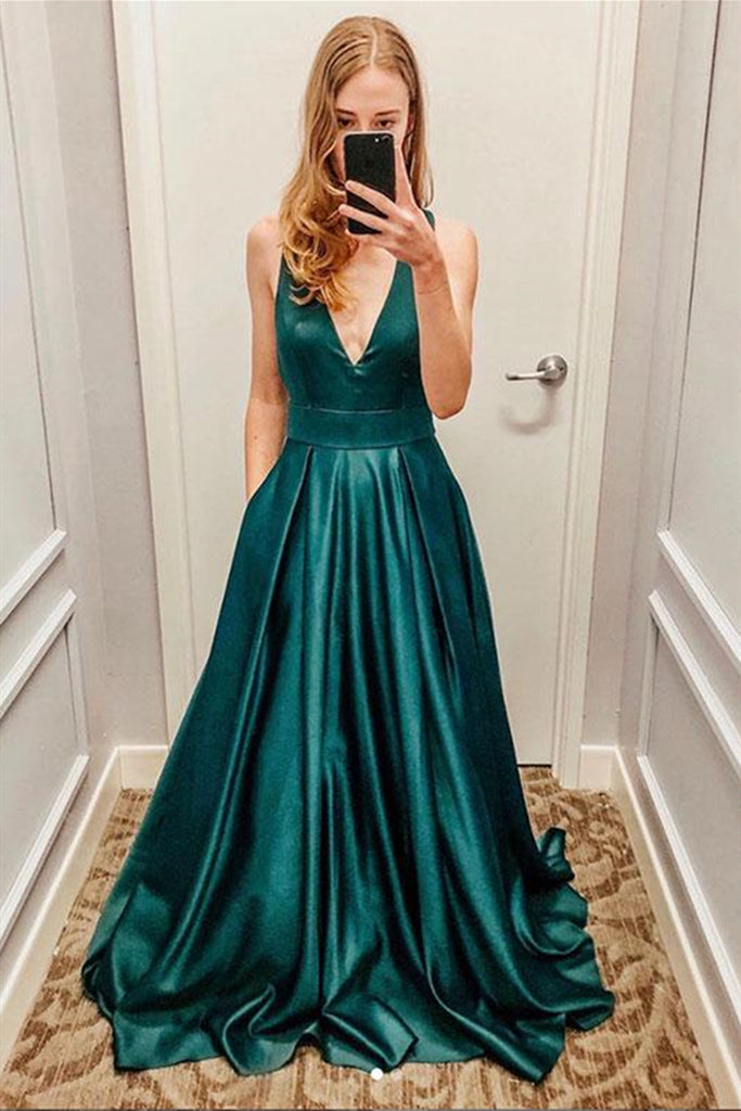 A Line V Neck Green Satin Long Prom Dress, V Neck Green Formal Graduation Evening Dress