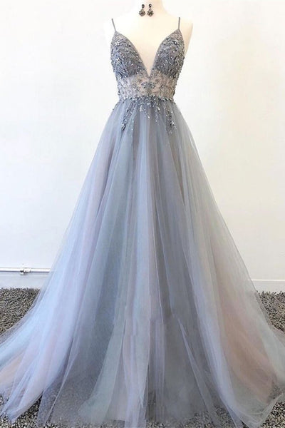 A Line V Neck Grey Beaded Long Prom Dress with Split, Grey Beaded Formal Graduation Evening Dress