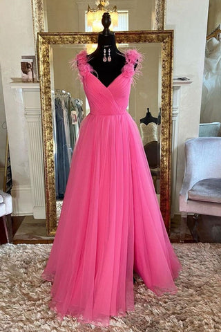 A Line V Neck Hot Pink Tulle Long Prom Dress with Slit, Hot Pink Formal Graduation Evening Dress