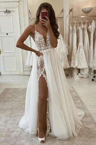 A Line V Neck Ivory Lace Long Prom Wedding Dress with High Slit, Ivory Lace Formal Dress, White Evening Dress