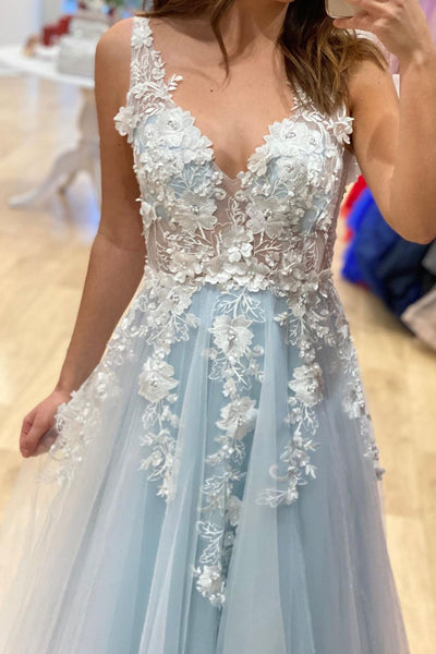 A Line V Neck Light Blue Lace Floral Long Prom Dress, Light Blue Lace Formal Dress, Blue Evening Dress