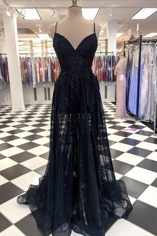 A Line V Neck Long Black Lace Prom Dress, Black Lace Formal Graduation Evening Dress