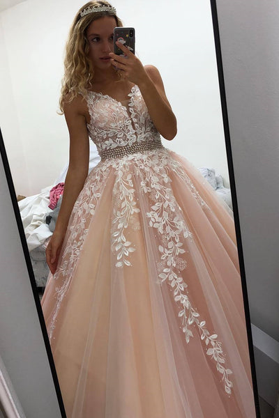 A Line V Neck Open Back Pink Lace Appliques Long Prom Dress, Backless Pink Lace Formal Dress, Pink Evening Dress