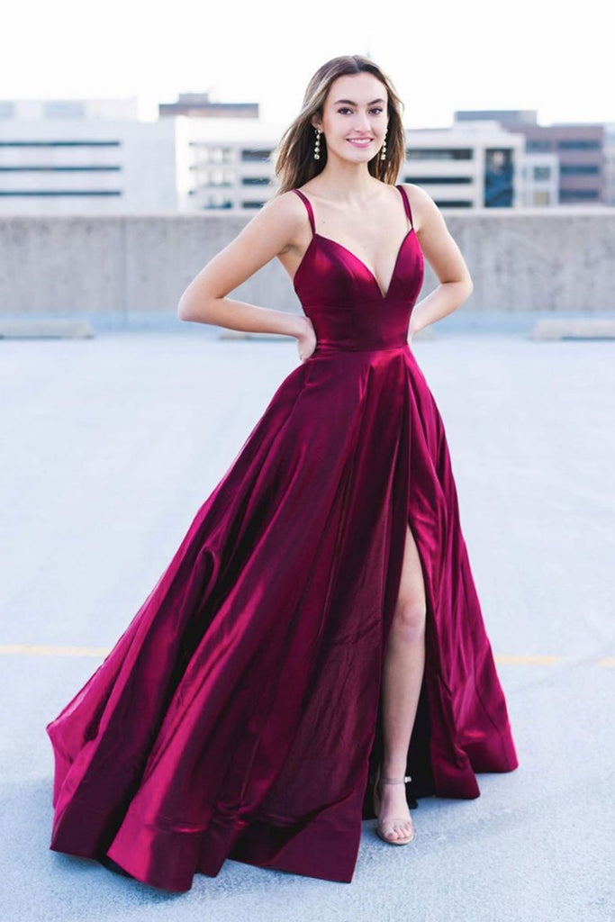 A Line V Neck Open Back Long Burgundy Prom Dress with High Slit, V Neck Burgundy Formal Graduation Evening Dress