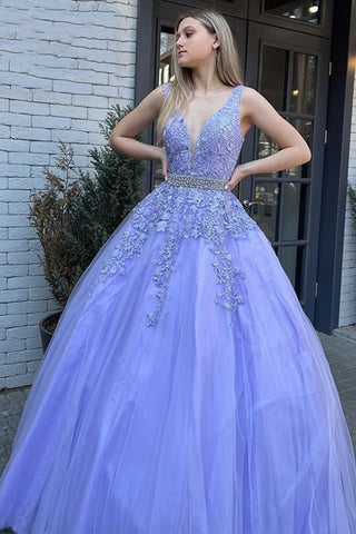 A Line V Neck Open Back Purple Lace Long Prom Dress, Backless Lilac Lace Formal Dress, Purple Lace Evening Dress