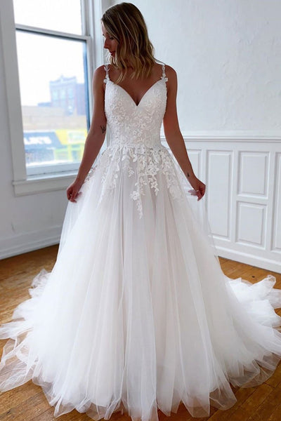 A Line V Neck Open Back White Lace Long Wedding Dress, White Lace Long Formal Graduation Prom Dress