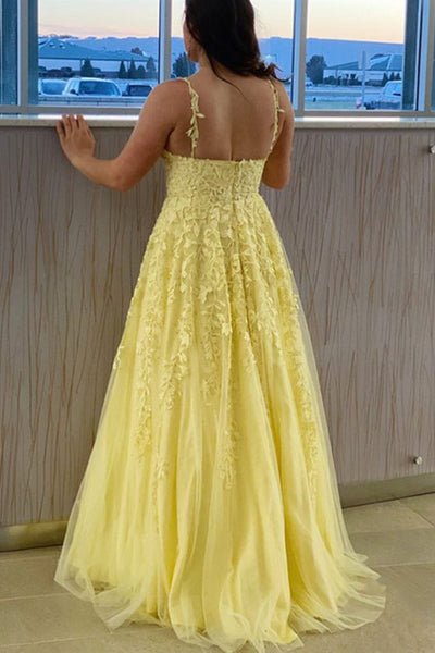 A Line V Neck Open Back Yellow Lace Long Prom Dress, Yellow Lace Formal Graduation Evening Dress