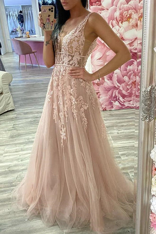 A Line V Neck Pink Lace Long Prom Dress, Pink Lace Formal Dress, Pink Evening Dress