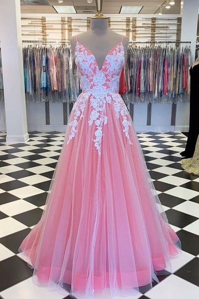 A Line V Neck Pink Long Prom Dress with Lace Appliques, V Neck Pink Formal Dress, Pink Evening Dress