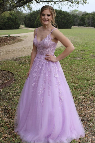 A Line V Neck Purple Lace Long Prom Dress, Purple Lilac Lace Formal Dress, Purple Evening Dress