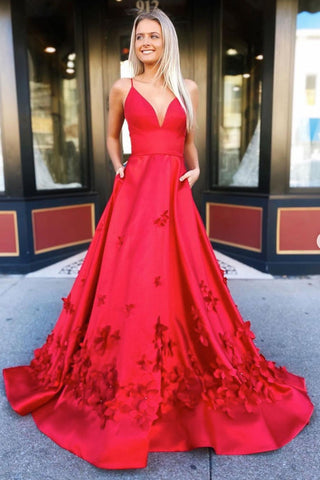 A Line V Neck Red Satin Floral Long Prom Dress, V Neck Red Formal Dress, Red 3D Flower Evening Dress