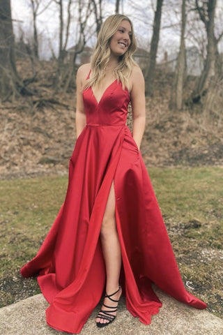 A Line V Neck Red Satin Long Prom Dress with Slit, V Neck Red Formal Graduation Evening Dress