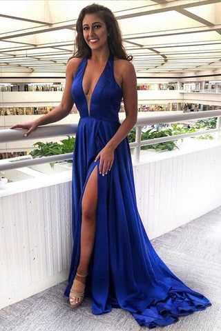 A Line V Neck Royal Blue Satin Long Prom Dress with Slit, V Neck Royal Blue Formal Graduation Evening Dress