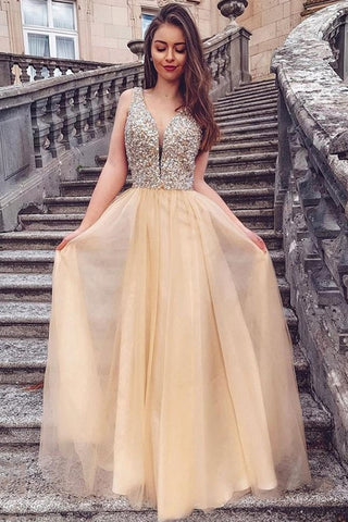 A Line V Neck Sequins Champagne Long Prom Dress, Champagne Formal Graduation Evening Dress