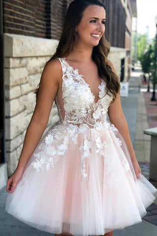 A Line V Neck Short Pink Lace Floral Prom Dress, Short Pink Lace Formal Graduation Homecoming Dress