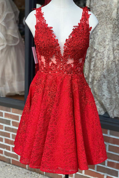 A Line V Neck Short Red Lace Prom Dress, Red Lace Formal Graduation Homecoming Dress