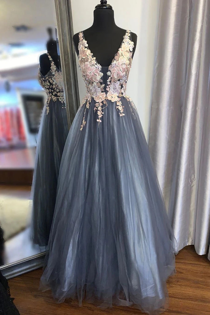 A Line V Neck Smoke Blue Long Prom Dress with Lace Appliques, Floral Smoke Blue Formal Graduation Evening Dress