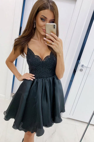A Line V Neck Spaghetti Straps Black Lace Prom Dress, Short Black Lace Formal Graduation Homecoming Dress