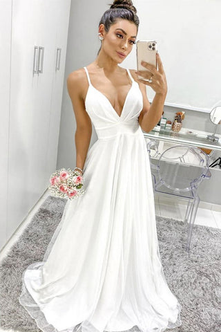 A Line V Neck Thin Straps White Chiffon Long Prom Dress, V Neck White Formal Graduation Evening Dress