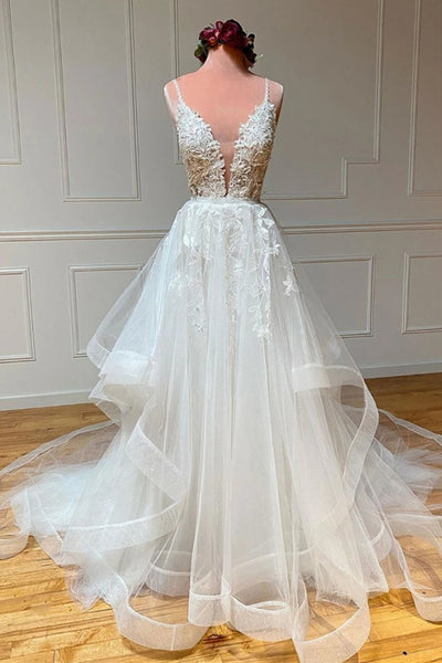 A Line V Neck White Lace Long Prom Dress, White Lace Wedding Dress, White Formal Evening Dress