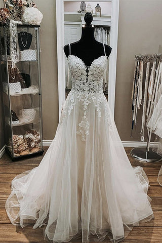 A Line V Neck White Lace Long Prom Wedding Dress, Thin Strap White Lace Formal Dress, White Lace Evening Dress
