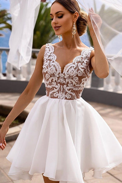 A Line V Neck White Lace Short Prom Dress, Short White Lace Formal Graduation Homecoming Dress