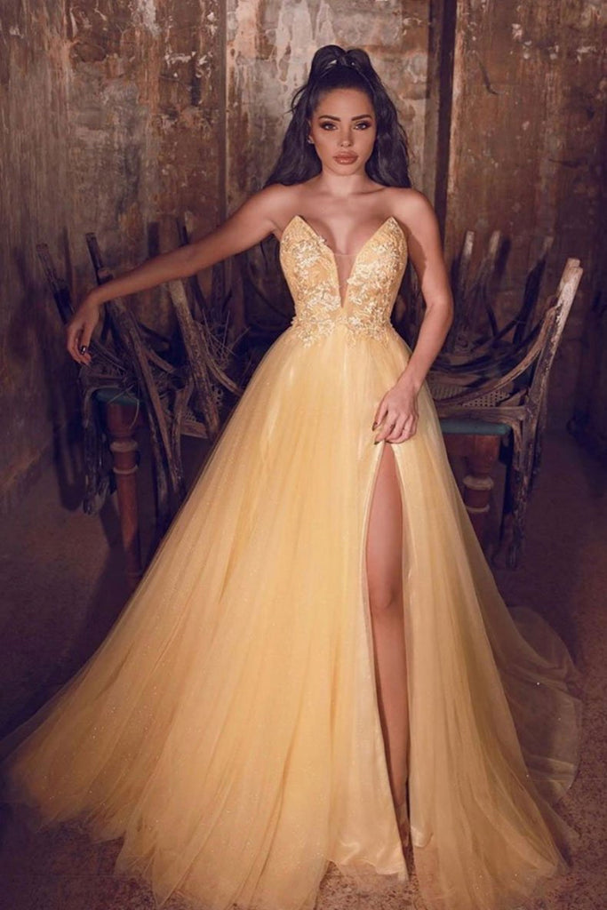 A Line V Neck Yellow Lace Long Prom Dress with High Slit, V Neck Yellow Lace Formal Graduation Evening Dress