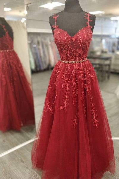A Line V Neck and V Back Burgundy Lace Floral Long Prom Dress, Burgundy Lace Formal Evening Dress