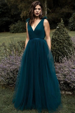 A Line V Neck and V Back Peacock Blue Long Prom Dress, V Neck Open Back Peacock Blue Formal Evening Dress
