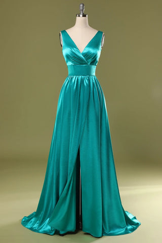 A Line V Neck and V Back Turquoise Long Prom Dress with Slit, Turquoise Formal Graduation Evening Dress