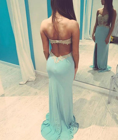 A Line Backless Lace Baby Blue Prom Dresses, Lace Baby Blue Formal Dresses