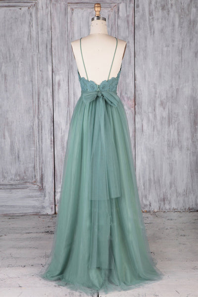 A Line Backless Lace Green Long Prom Dresses, Backless Green Lace Formal Graduation Evening Dresses