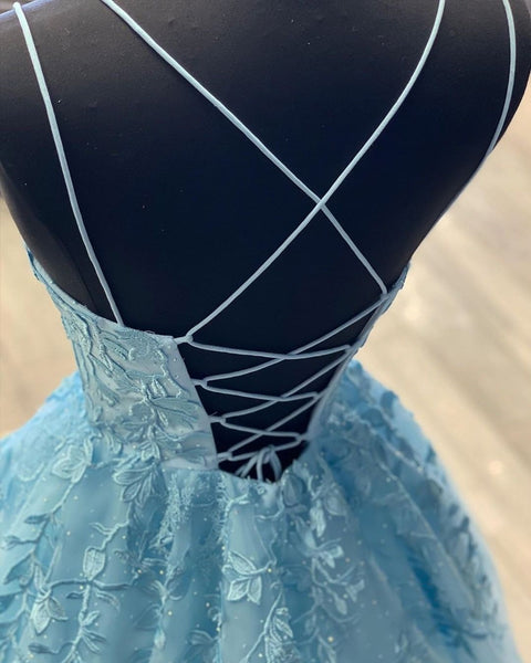 A Line Backless Lace Long Sky Blue Prom Dress, Backless Sky Blue Lace Formal Dress, Sky Blue Evening Dress