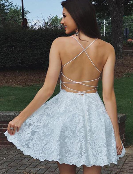 A Line Backless Lace White Homecoming Dresses Short Prom Dresses, White Lace Formal Dresses, Evening Dresses, Graduation Dresses