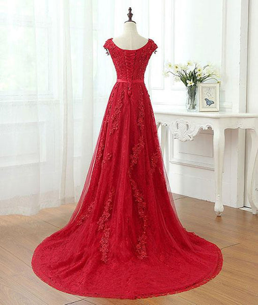 A Line Cap Sleeves Burgundy Lace Long Prom Dress with Appliques, Burgundy Formal Dress, Burgundy Evening Dress
