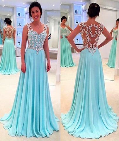 A Line Chiffon Lace Long Light Green Prom Dresses, Green Formal Dresses, Lace Evening Dresses