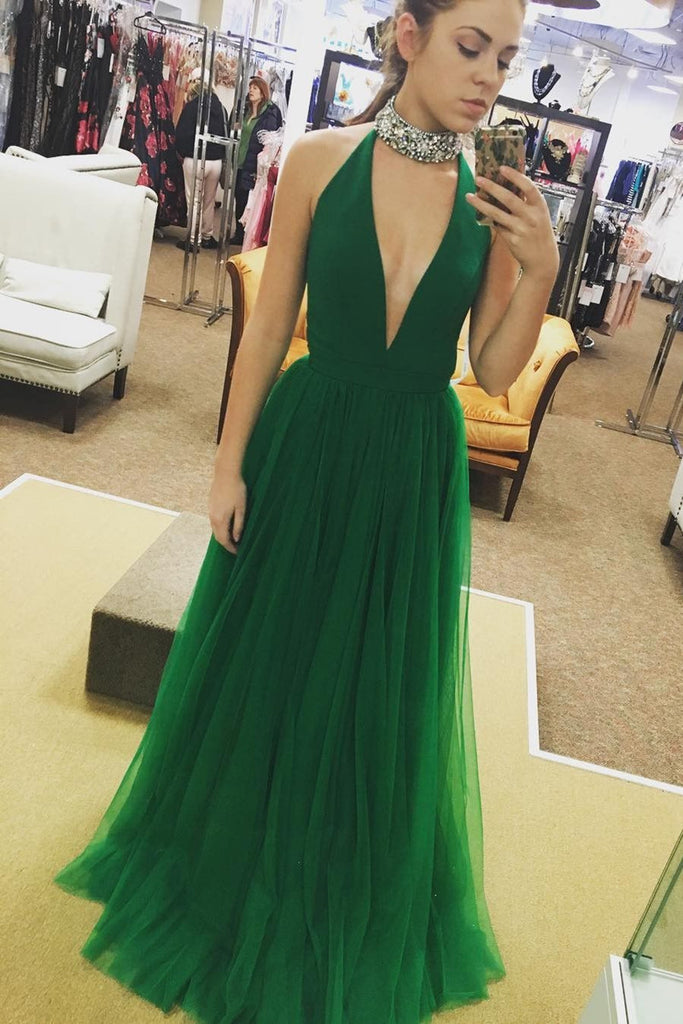 A Line Deep V Neck Green Tulle Long Prom Dresses, V Neck Green Formal Dresses, Green Evening Dresses