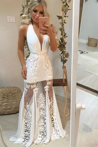 A Line Deep V Neck Lace Appliques White Long Prom Dress, White Lace Formal Graduation Evening Dress