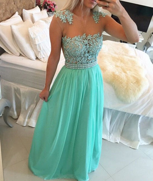 A Line Floor Length Sleeveless Lace Prom Dresses, Lace Formal Dresses
