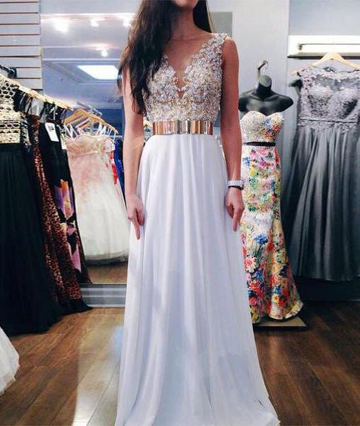 A Line Gold Belt White Prom Dresses, White Formal Dresses With Gold Belt