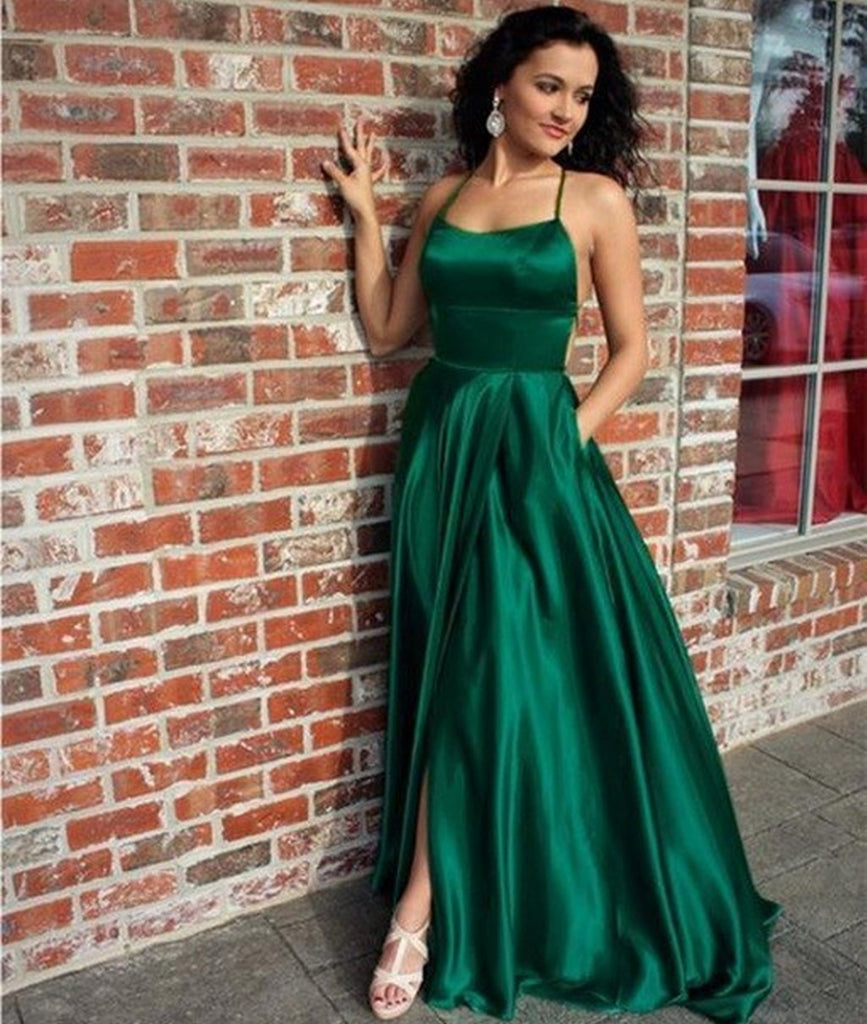 competitive price best sneakers 2019 hot sale A Line Halter Neck Backless Long Emerald Green Prom Dresses with Pockets,  Emerald Green Satin Formal Graduation Evening Dresses with Slit