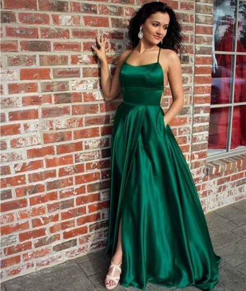 A Line Halter Neck Backless Long Emerald Green Prom Dresses with Pockets, Emerald Green Satin Formal Graduation Evening Dresses with Slit