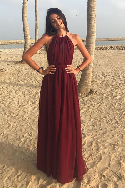 A Line Halter Neck Burgundy Long Prom Dress, Halter Neck Burgundy Formal Graduation Evening Dress, Burgundy Bridesmaid Dress