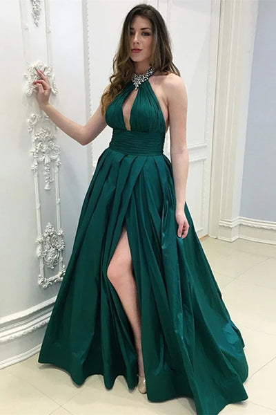A Line Halter Neck Floor Length Dark Green Long Prom Dress with High Split, Dark Green Formal Graduation Evening Dress