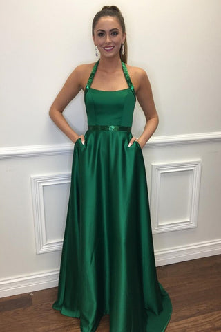 A Line Halter Neck Green Long Prom Dresses with Pocket, Halter Neck Green Formal Dresses, Green Evening Dresses